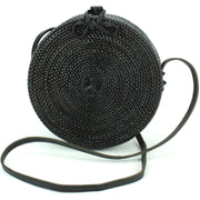 Loud Elephant Handwoven Round Rattan Bag - Black