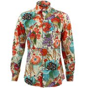 Slim Fit Long Sleeve Shirt - Japanese Floral
