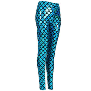 Shiny Fish Scale Leggings - Blue