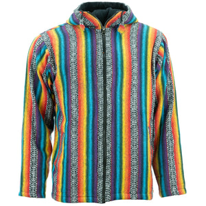 Fleece Lined Brushed Cotton Hooded Jacket Cardigan - Rainbow