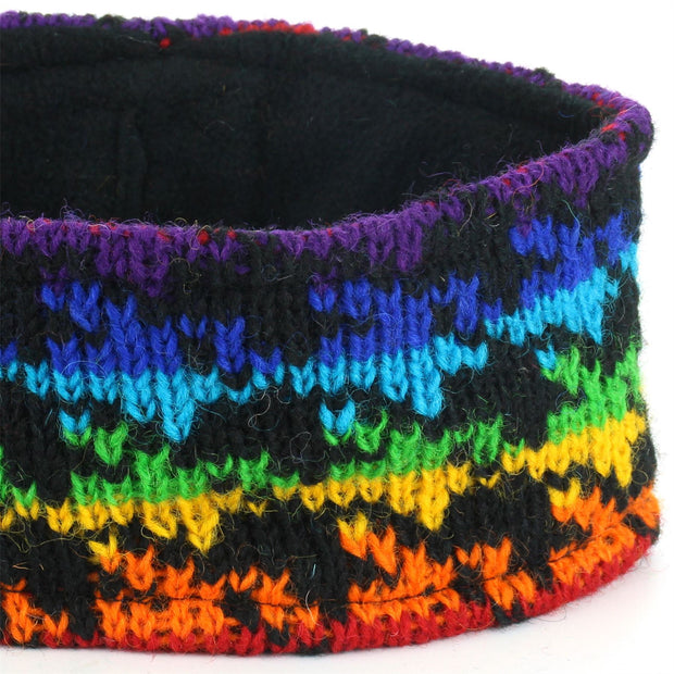 Wool Kint Headband - Rainbow Houndstooth