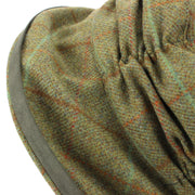 Ladies Wool Tweed Cloche Hat with a Ruched Crown - Dark Green