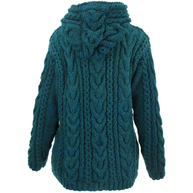 Women's Wool Cable Knit Hooded Jacket - Teal