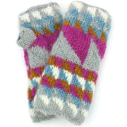 Wool Knit Arm Warmer - Triangles - Pink