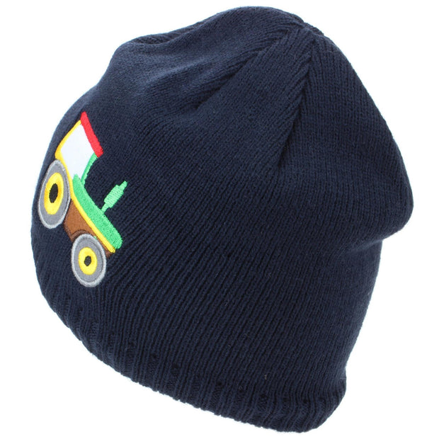 Childrens Fine Knit Beanie Hat with Embroidered Tractor - Navy