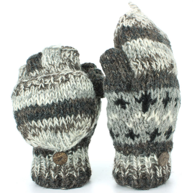 Chunky Wool Knit Fingerless Shooter Gloves - Abstract - Grey