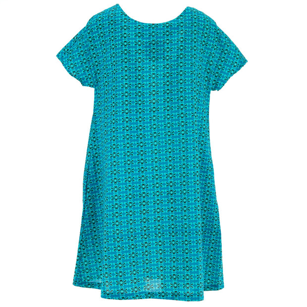 Floaty Pocket Pleat Dress - Aqua Oasis