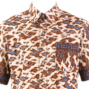 Regular Fit Short Sleeve Shirt - Black & Light Orange Abstract