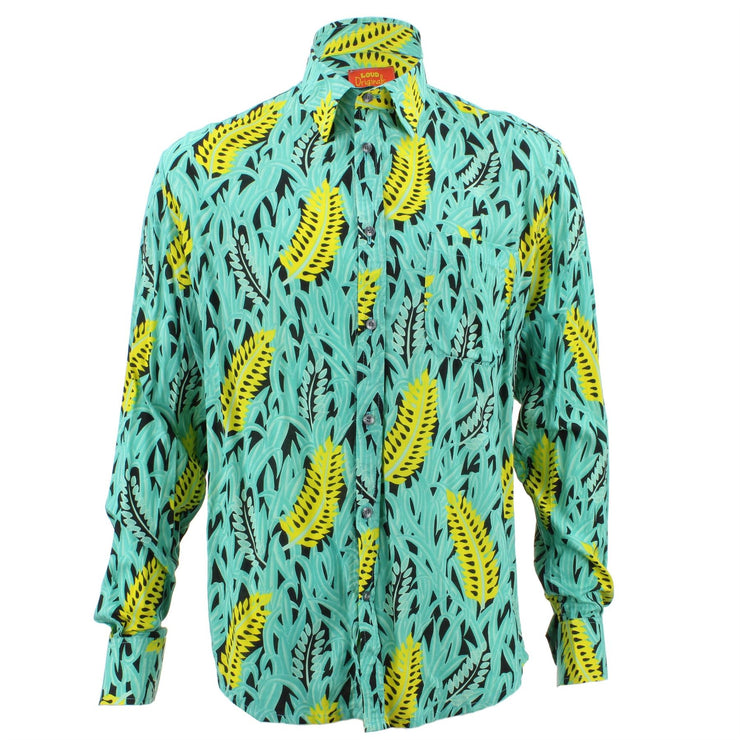 Tailored Fit Long Sleeve Shirt - Yellow Feathers & Green Grass