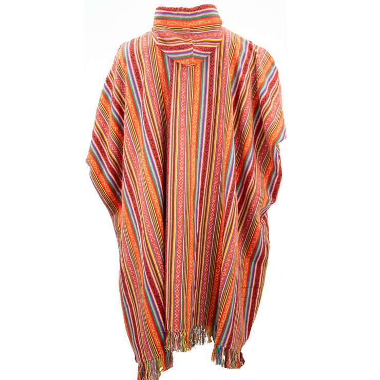 Brushed Cotton Long Hooded Poncho - Blood Orange