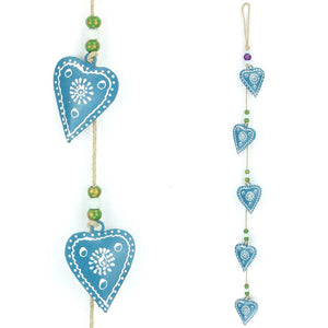 Hanging Mobile Decoration String of Hearts - Teal - Sand String