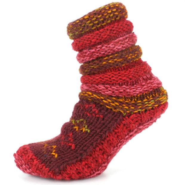Chunky Wool Knit Slipper Socks - Maroon