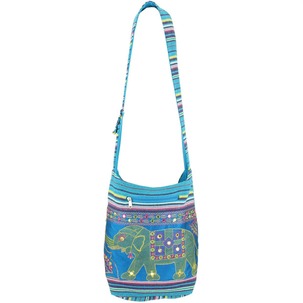 Embroidered Elephant Canvas Sling Shoulder Bag - Light Blue
