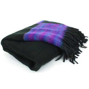 Tibetan Wool Blend Shawl Blanket - Black with Purple Reverse