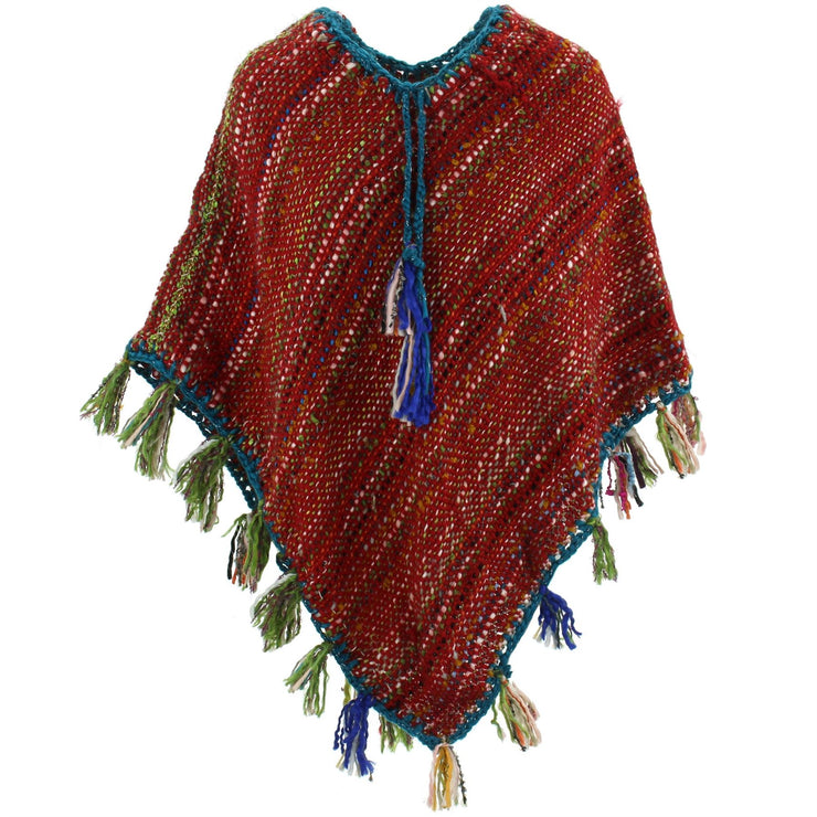 Stripe Crochet Poncho Long - Red