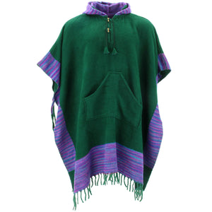 Soft Vegan Wool Hooded Tibet Poncho - Racing Green Purple