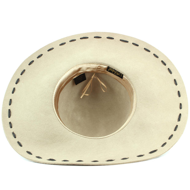 100% Wool felt wide brim floppy hat with cord band - Beige (57cm)