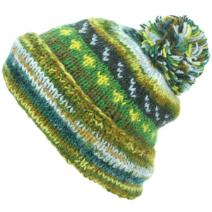 Chunky Wool Knit Abstract Pattern Beanie Bobble Hat - Green