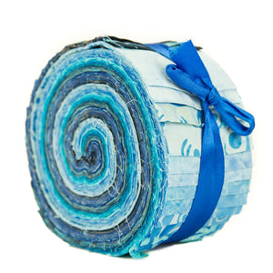 Cotton Batik Pre Cut Fabric Bundles - Jelly Roll - Azure Blue
