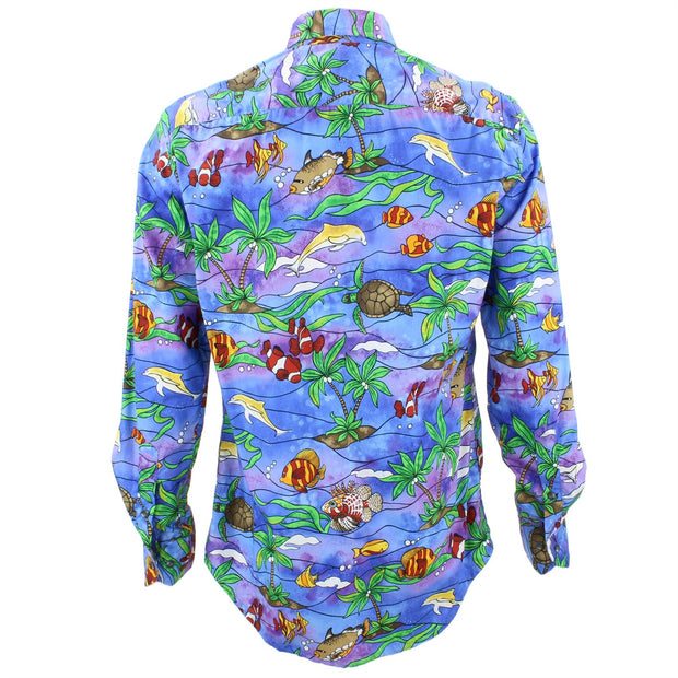 Tailored Fit Long Sleeve Shirt - Sea Life on Purple