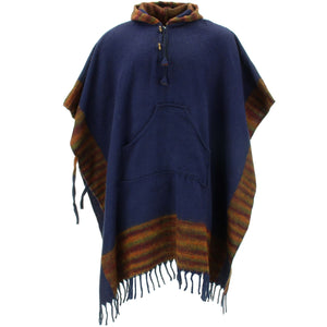 Soft Vegan Wool Hooded Tibet Poncho - Navy Sunset