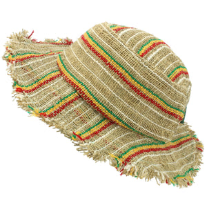 Frayed Brim Hemp Sun Hat - Rasta Stripe
