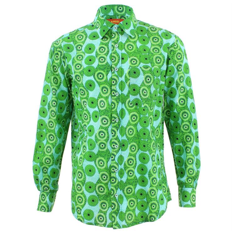 Regular Fit Long Sleeve Shirt - Green Abstract Umbrellas
