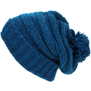 Acrylic Knit Baggy Beanie Bobble Hat