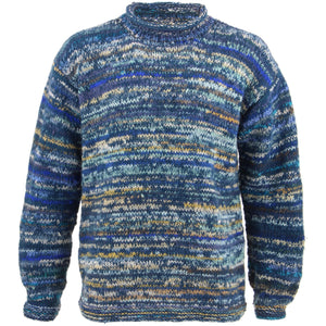 Chunky Wool Knit Space Dye Jumper - Blue
