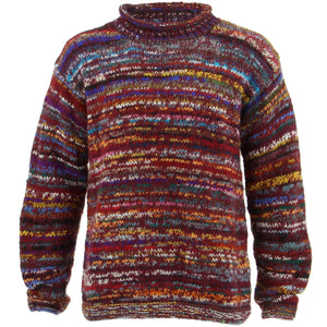 Chunky Wool Knit Space Dye Jumper - Dark Red