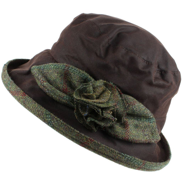 Ladies Waterproof Wax Cloche Hat with Tweed Rose and Brim - Brown (Dark Green Tweed)