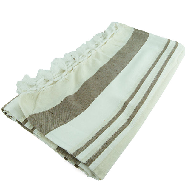Large Cotton Stripe Blanket With Tassel Edging - Ivory