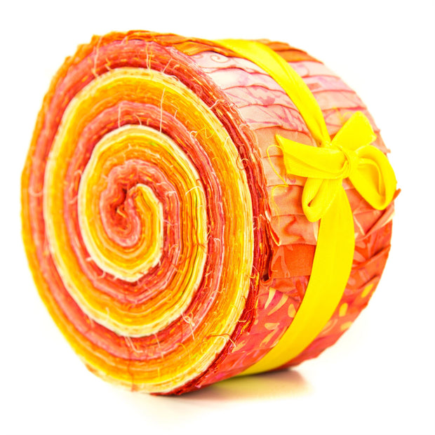 Cotton Batik Pre Cut Fabric Bundles - Jelly Roll - Honey Orange