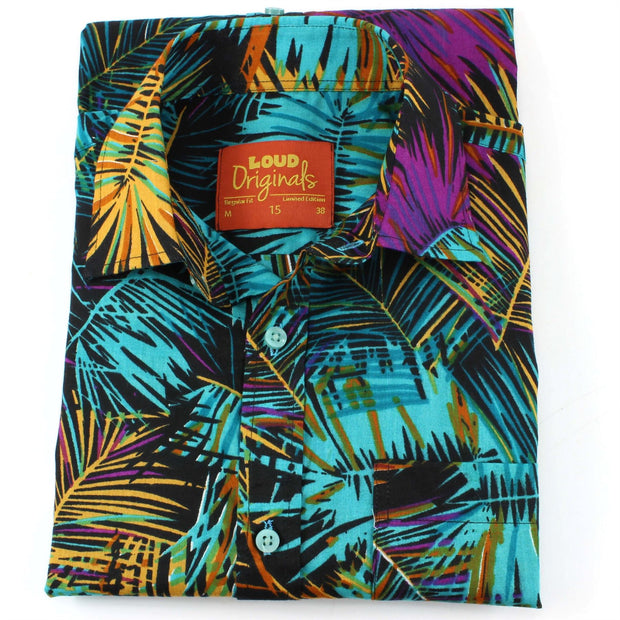 Regular Fit Short Sleeve Shirt - Palm Leaves