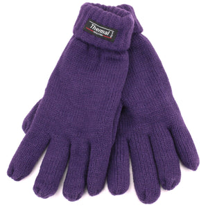 Fold Up Cuffs Thermal Gloves - Plum