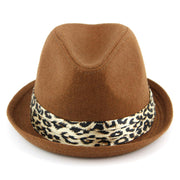Women's felt rolled brim trilby hat with satin leopard print band - Brown (57cm)