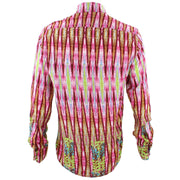 Tailored Fit Long Sleeve Shirt - Red Pink & Green Abstract Print
