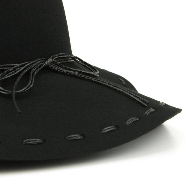 100% Wool felt wide brim floppy hat with cord band - Black (57cm)