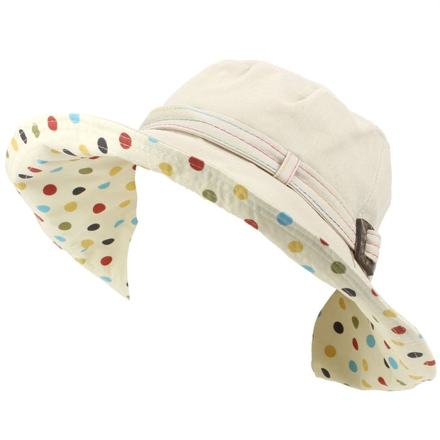 Ladies Linen Sun Hat with Shapeable Brim and Spotty Under Brim