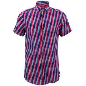 Slim Fit Short Sleeve Shirt - Overlapping Art Deco