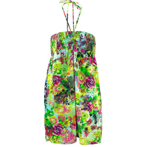 Halterneck Wrinkle Dress - Botanical Explosion