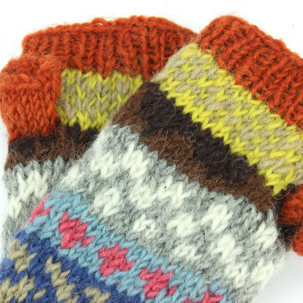 Chunky Wool Knit Arm Warmers - Chevron - Orange