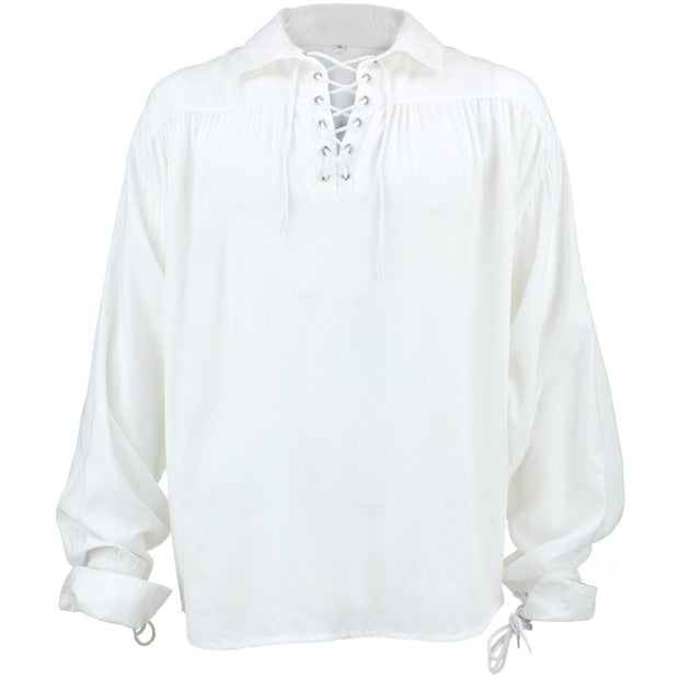 Long Sleeve Rayon Pirate Shirt - White