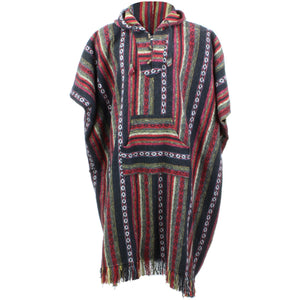 Brushed Cotton Long Hooded Poncho - Black Red