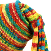 Wool Knit Fountain Tassels Hat - Rainbow SD