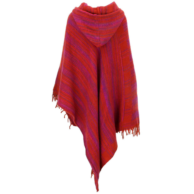 Vegan Wool Hooded Poncho - Red & Pink
