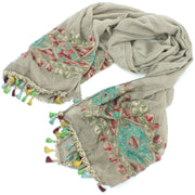 Woven Cotton Embroidered Scarf - Brown