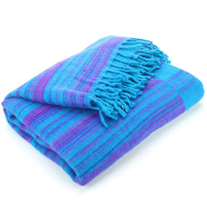 Vegan Wool Shawl Blanket - Stripe - Turquoise Purple