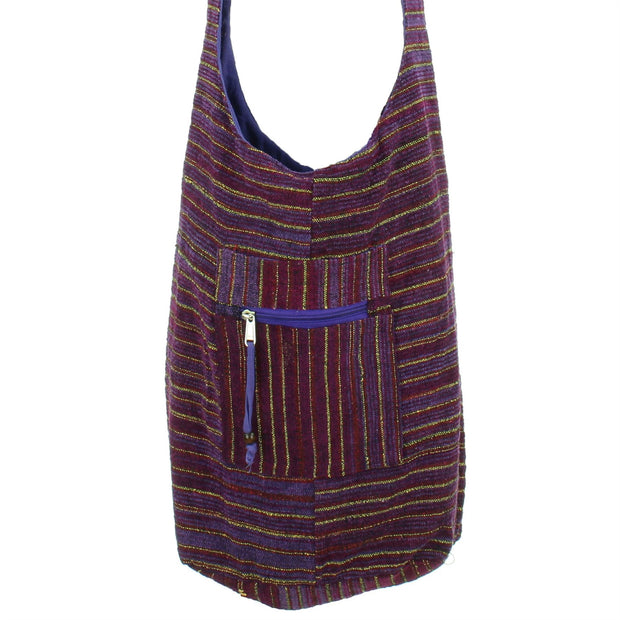 Striped Chenille Sling Shoulder Bag  - Deep Purple Yellow