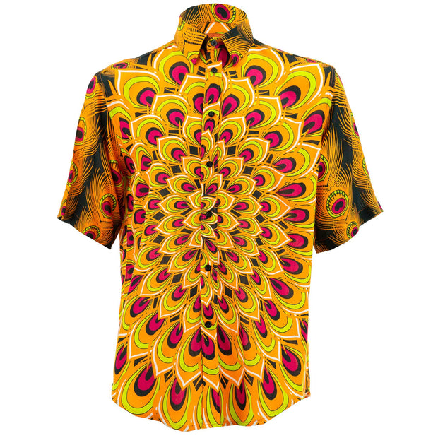 Regular Fit Short Sleeve Shirt - Peacock Mandala - Orange Red